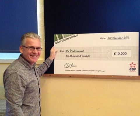 Paul with his £10,000 Check for the Hanover Centre